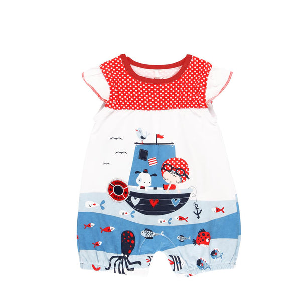 "Knit Playsuit ""Sea World"" for baby girl - Il Bambino Store"