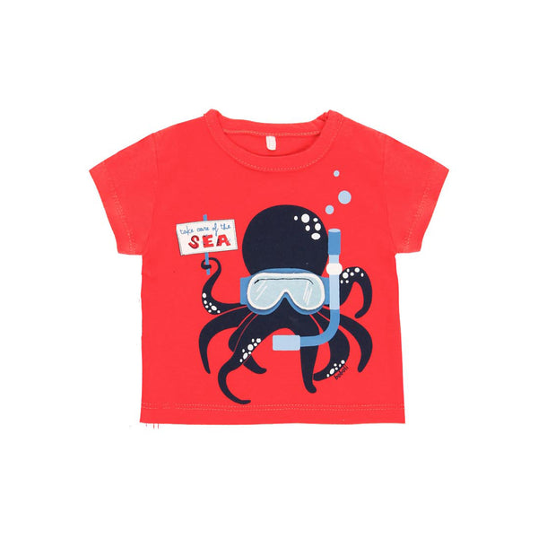 "Knit T-Shirt ""Octopus"" for baby boy - Il Bambino Store"