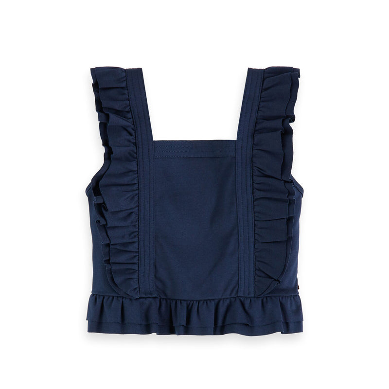 Girls Clean Jersey Worked Out Top with Ruffles - Il Bambino Store