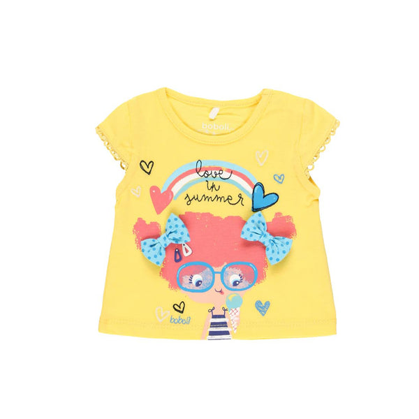 "Knit T-Shirt ""Summer"" for baby girl - Il Bambino Store"