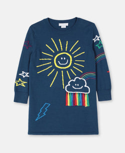 Knit Dress with Weather Intarsia - Il Bambino Store