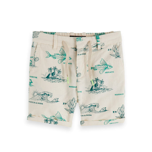 Boys Cotton Linen All-Over Printed Shorts - il Bambino Store