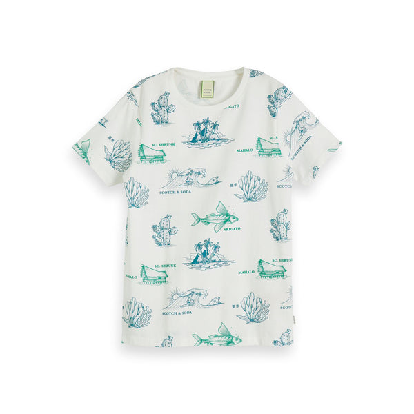 Boys Tee In Organic Cotton Quality with All-Over Print - il Bambino Store