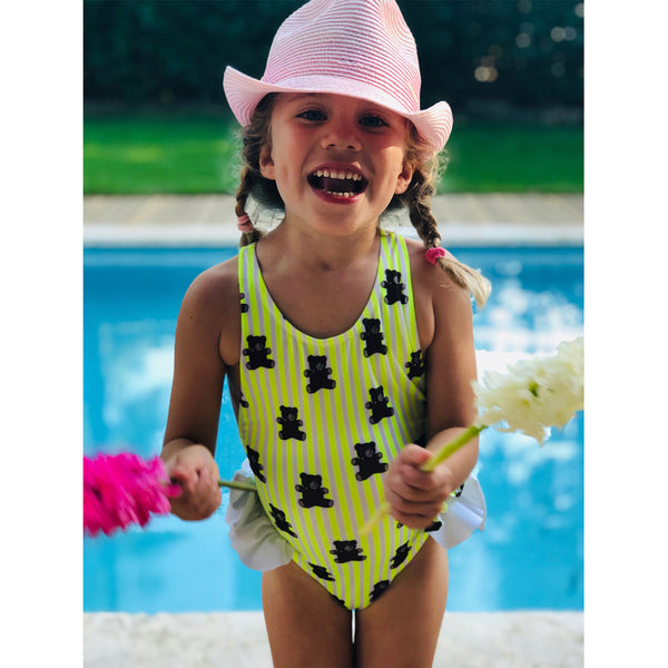 Baby Girl Menta One Piece (Yellow Stripes Bears) - Il Bambino Store