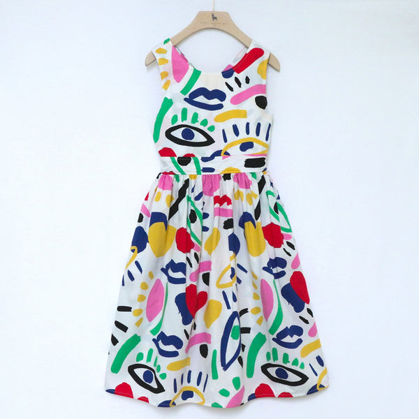Graphic Face Cotton Dress - Il Bambino Store