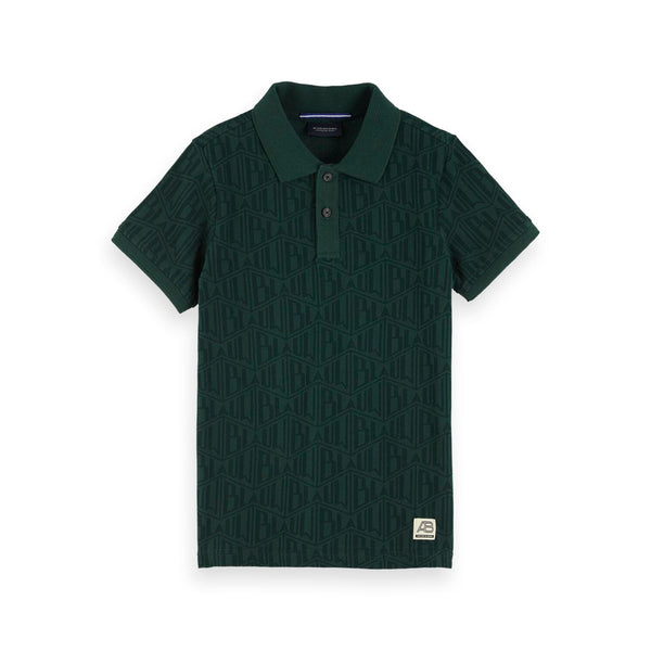 Boys All-Over Printed Polo Green - il Bambino Store