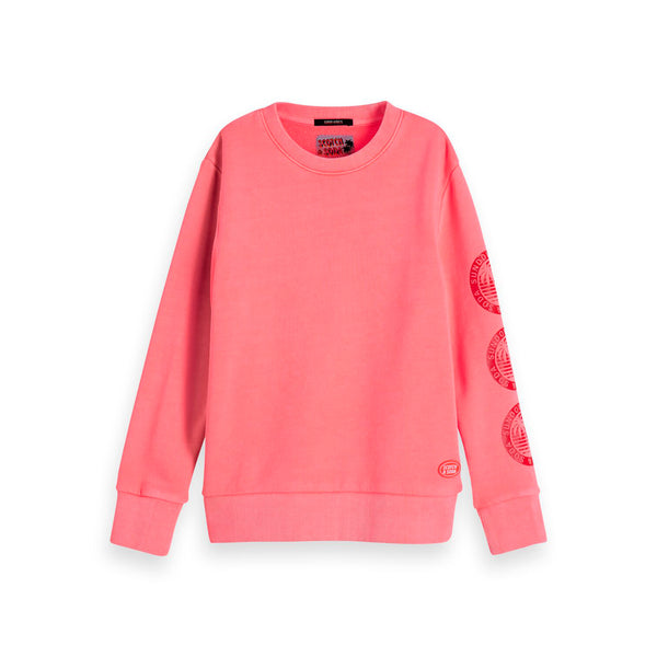Boys Garment Dyed Crew Neck Sweat With Artworks - il Bambino Store