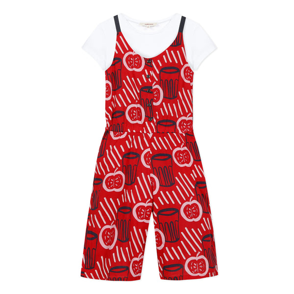 Red Printed Jumpsuit with T-shirt Set - Il Bambino Store
