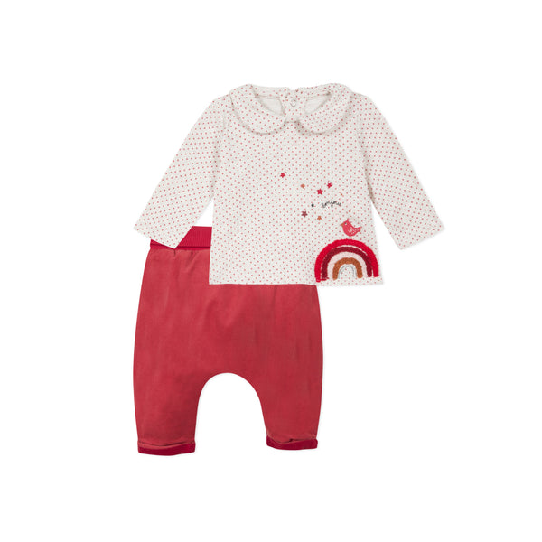 Printed Fleece T-Shirt and Velvet Pants Set - Il Bambino Strore