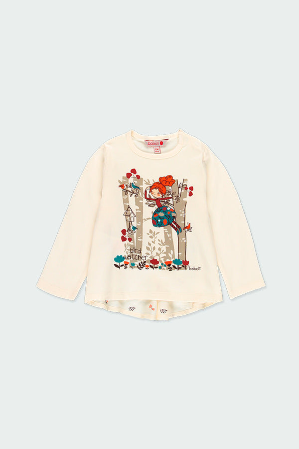"Knit T-Shirt ""Trees"" for Girl - Il Bambino Store"