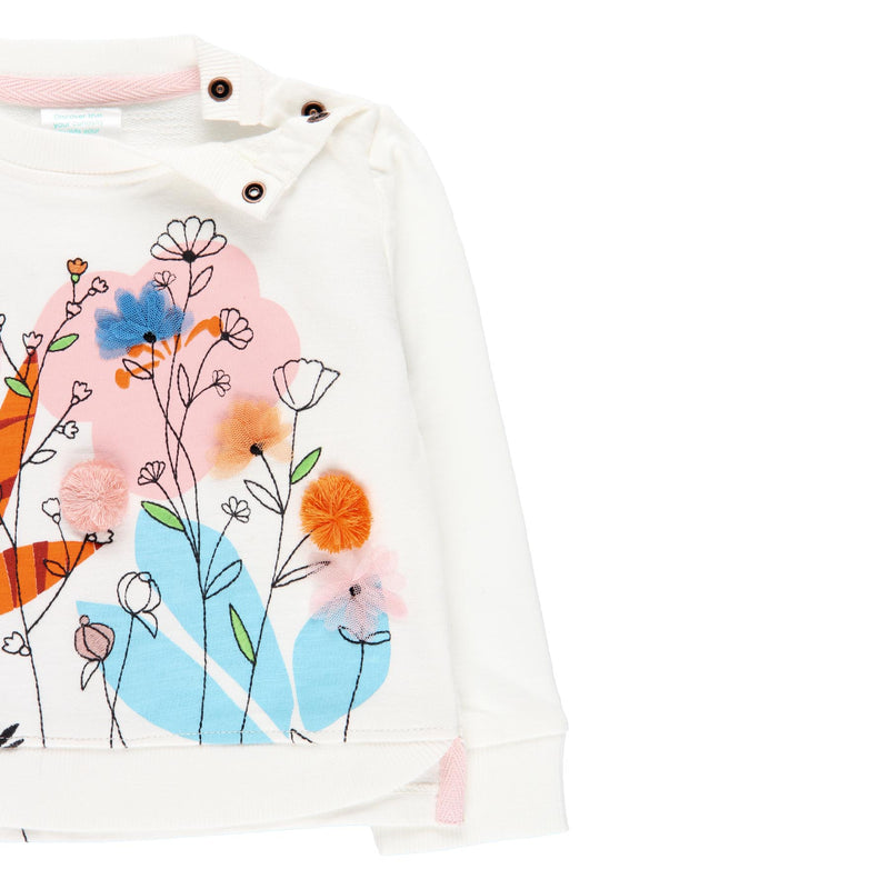 "Fleece Sweatshirt ""Floral"" for girl - Il Bambino Store"