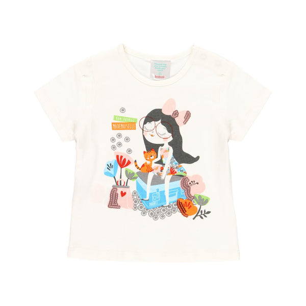 "Knit T-Shirt ""Off White"" for girl - Il Bambino Store"