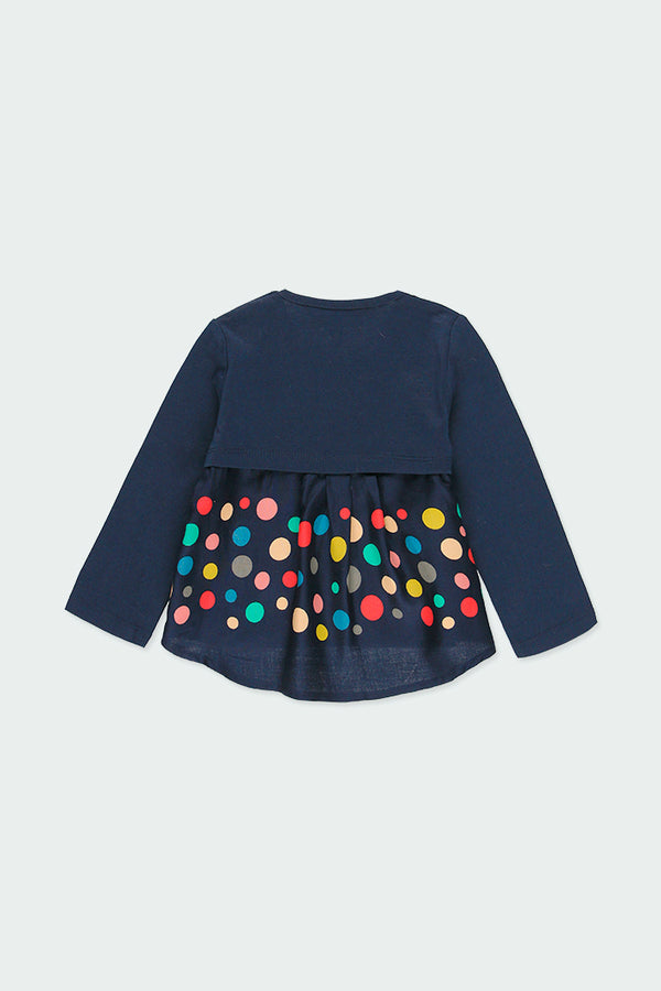 Navy Knit T-Shirt for Girl - Il Bambino Store