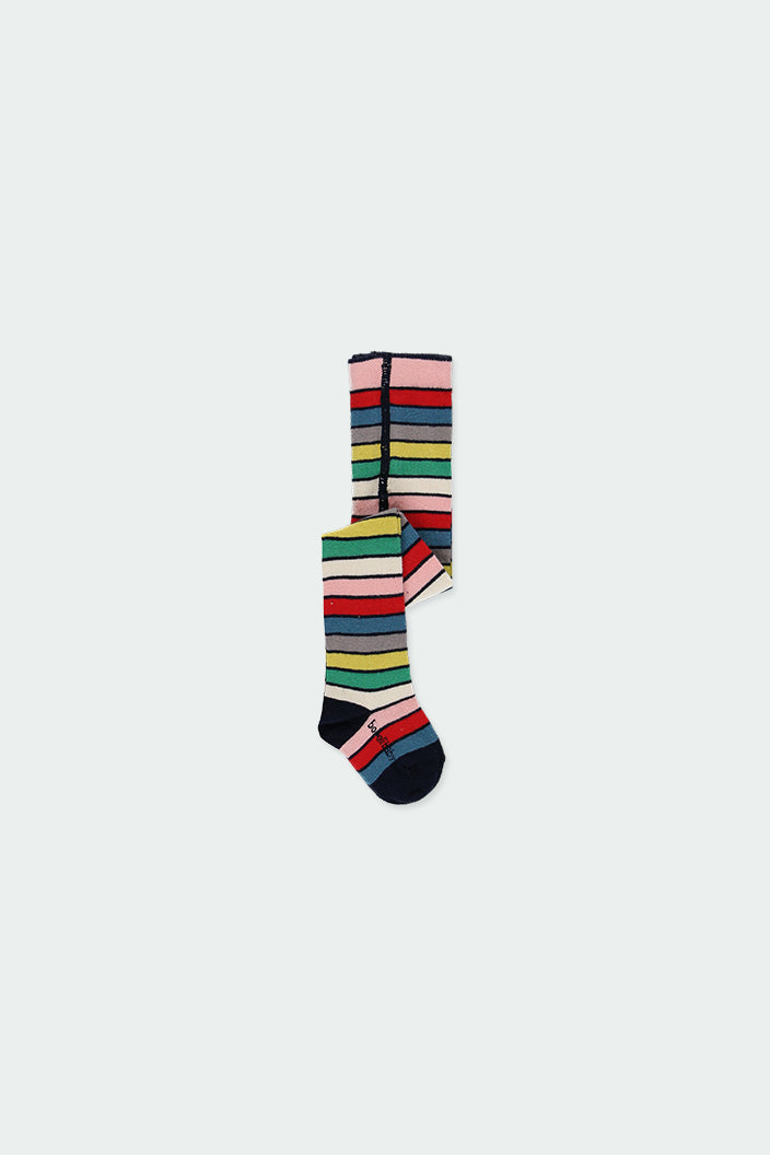 Baby Girl Thick Tights Stripe Ruby Red - Il Bambino Store
