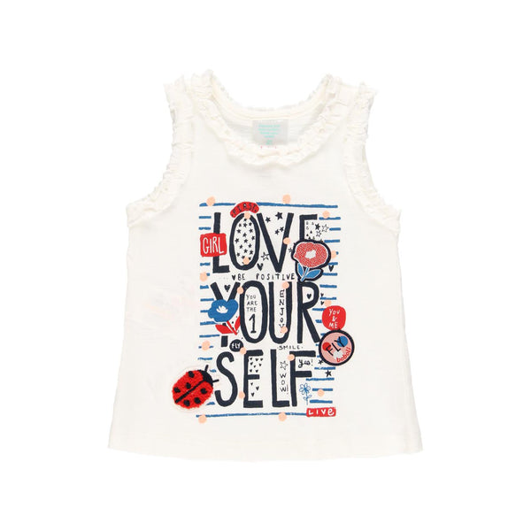 "Knit T-Shirt ""Love Yourself"" for girl - Il Bambino Store"