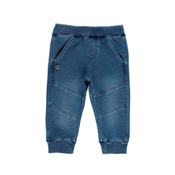 Baby Boy Fleece Denim Trousers Blue - Il Bambino Store