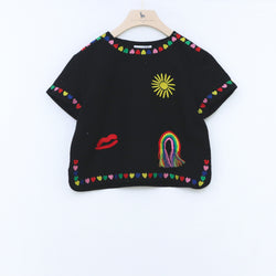 Linen Crop Top with Rainbow & Hearts Embroidered - il Bambino Store