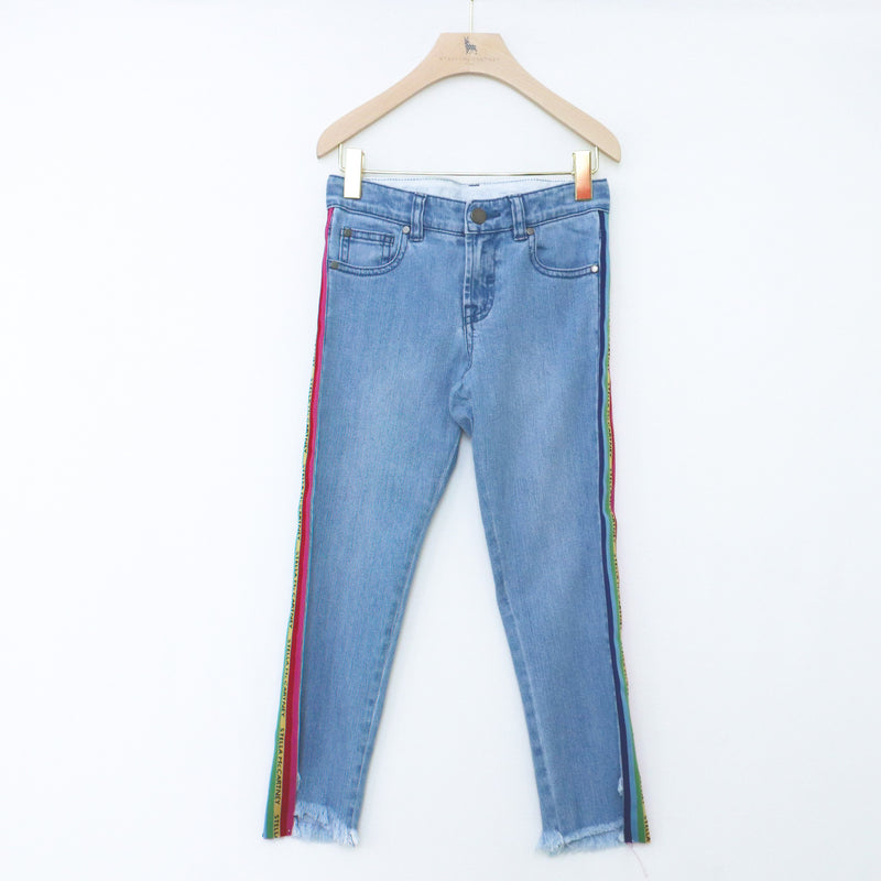 Mom Denim Trousers with Rainbow Logo Tape - Il Bambino Store
