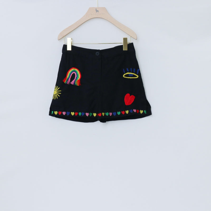 Linen Shorts with Rainbow & Hearts Embroidered - Il Bambino Store