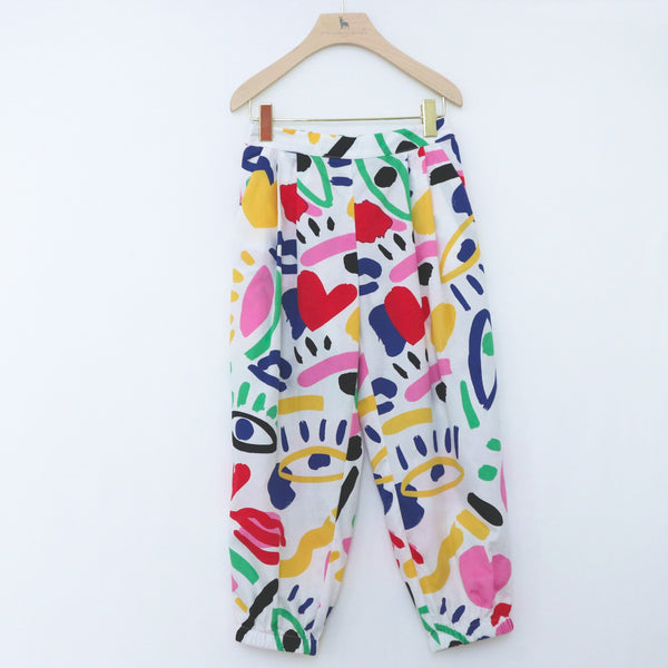 Graphic Face Cotton Trousers - Il Bambino Store