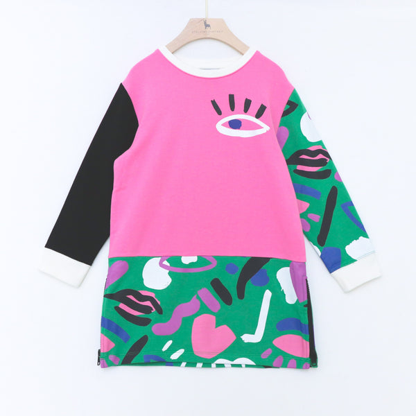 Graphic Face Fleece Dress - Il Bambino Store