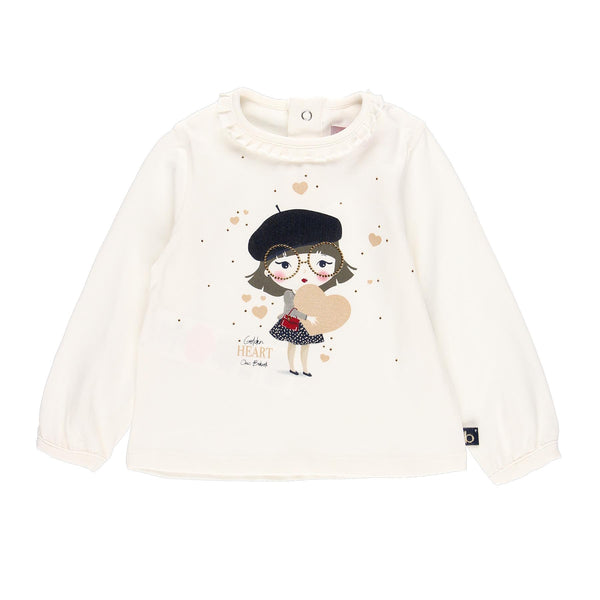 Golden Heart Stretch Knit T-Shirt for Baby Girl - Il Bambino Store