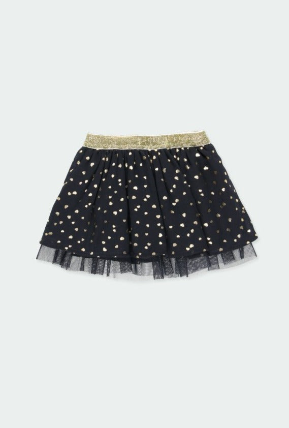 Skirt with Gauze Hearts for Baby Girl - Il Bambino Store