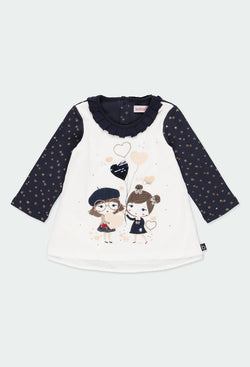 Golden Heart Knit Dress Combined for Girl - Il Bambino Store