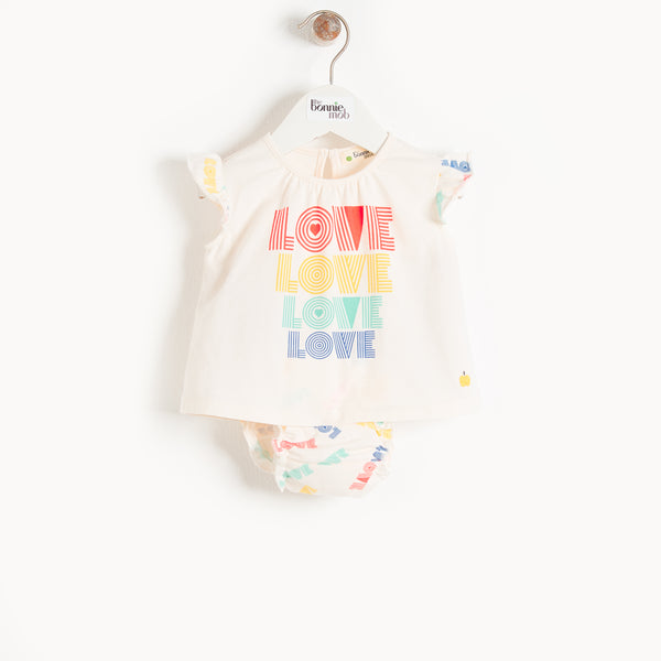 Balearic Frill Sleeve Top and Bloomer Set (Love) - Il Bambino Store