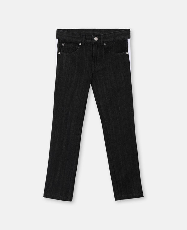 Boy Denim Trousers with Side Tape - Il Bambino Store