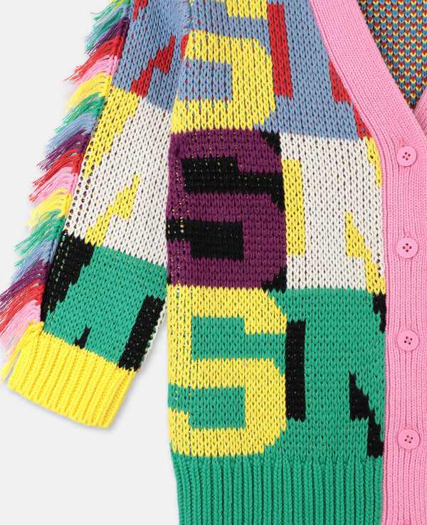 Knit Cardigan with Letters Intarsia - Il Bambino Store