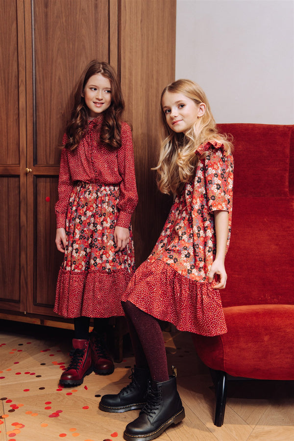 Dress Floral Red with Frill and Ruffle - Il Bambino Store