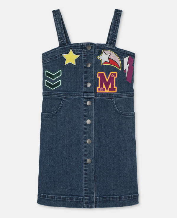 Denim Dress with Badges - Il Bambino Store