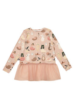 Top Pink Sweet Home Print with Tulle Frill - Il Bambino Store