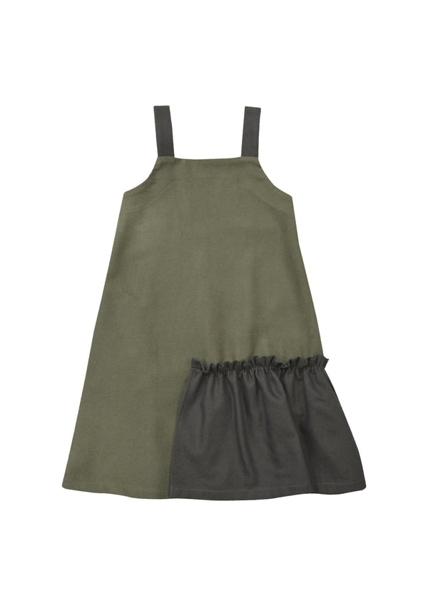 Strap Dress Khaki with Ruffle - Il Bambino Store