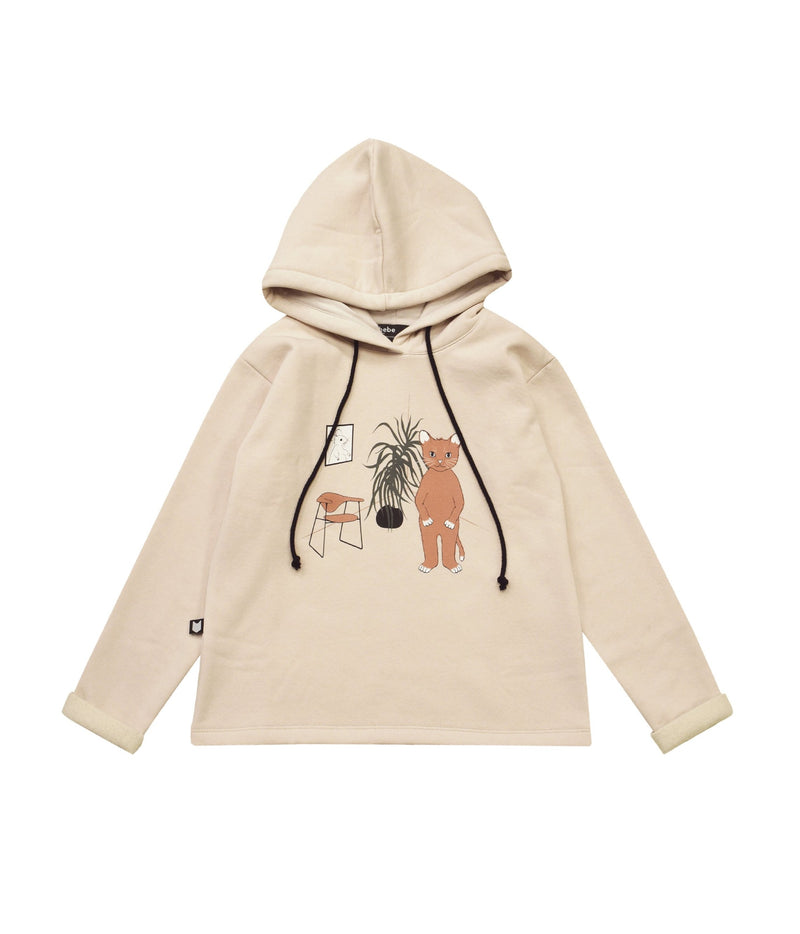 Hoodie Sweater White with Cat - Il Bambino Store