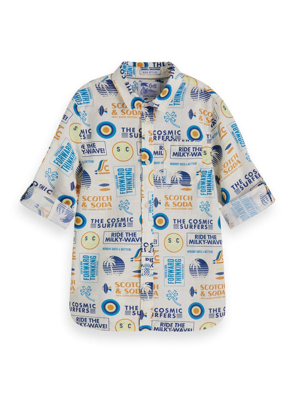 Boys All-Over Printed Long Sleeve Shirt In Cotton - il Bambino Store