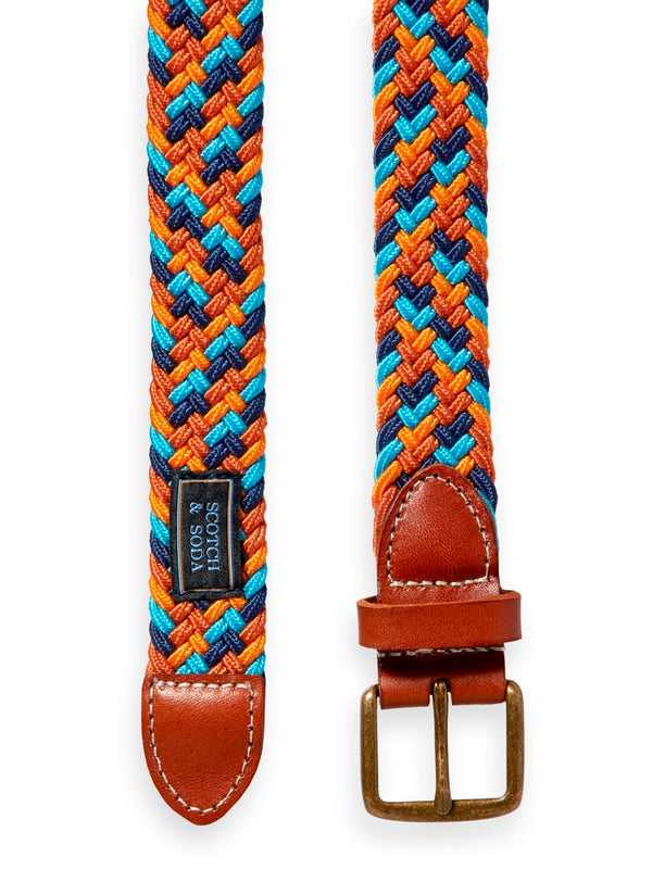 Boys Braided Elasticated Belt (Orange) - Il Bambino Store