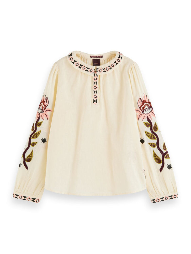 Cotton-Linen Blend Embroidered Boho Top - Il Bambino Store