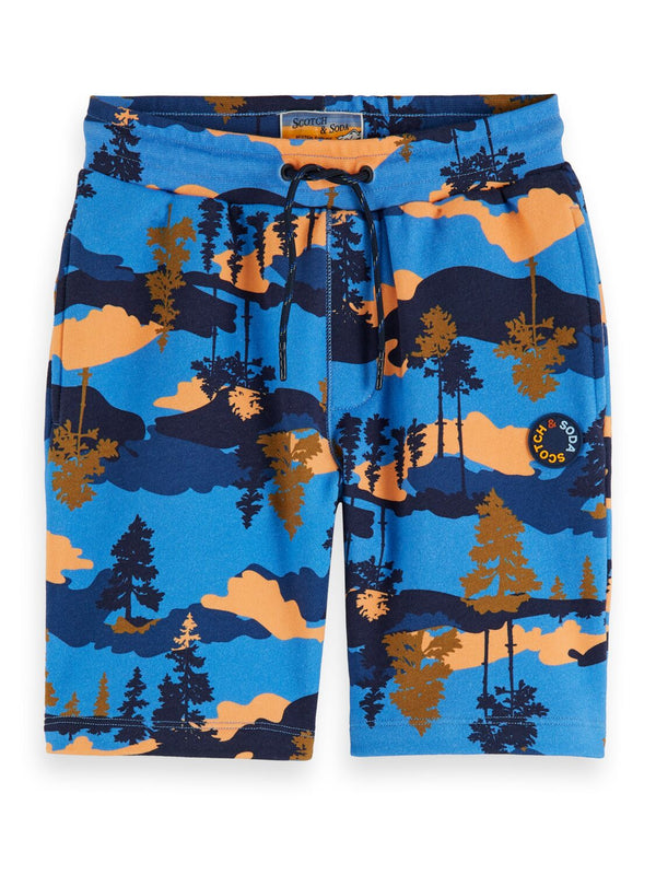 Boys Blue All-Over Print Sweatshorts - Il Bambino Store