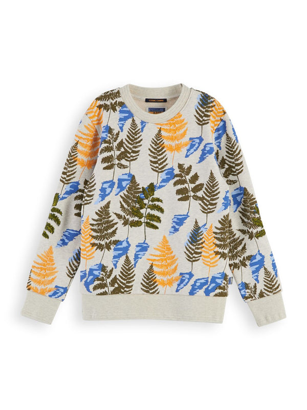 Boys All-Over Leaf Printed Crewneck Sweat with Embroidery - Il Bambino Store