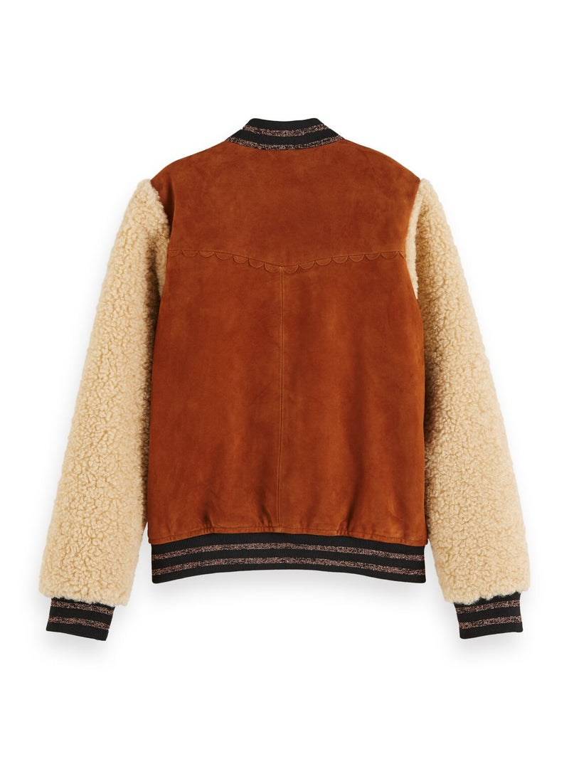 Girls Suede Bomber Jacket with Teddy Sleeves - Il Bambino Store