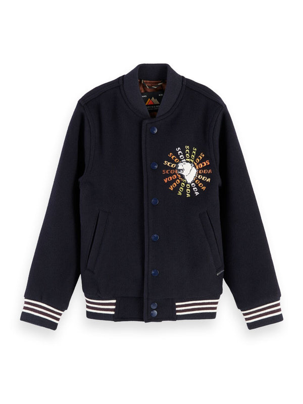 Wool-Blend Embroidered Baseball Jacket - Il Bambino Store