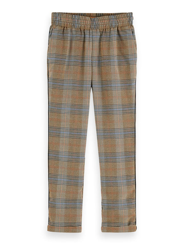 Boys Relaxed Slim Fit Pants in Check - Il Bambino Store