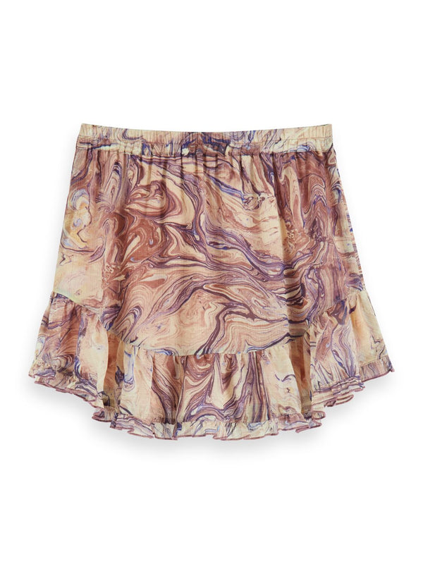 All-Over Marble Printed Mini Skirt - Il Bambino Store
