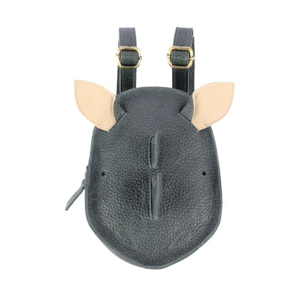 Kapi Backpack Rhino Grain Petrol Leather - Il Bambino Store