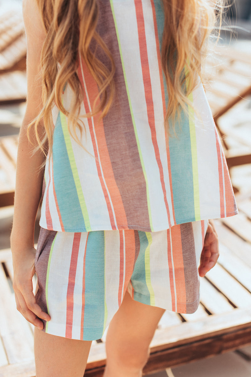 Shorts with Pastel Stripes For Girls - Il Bambino Store