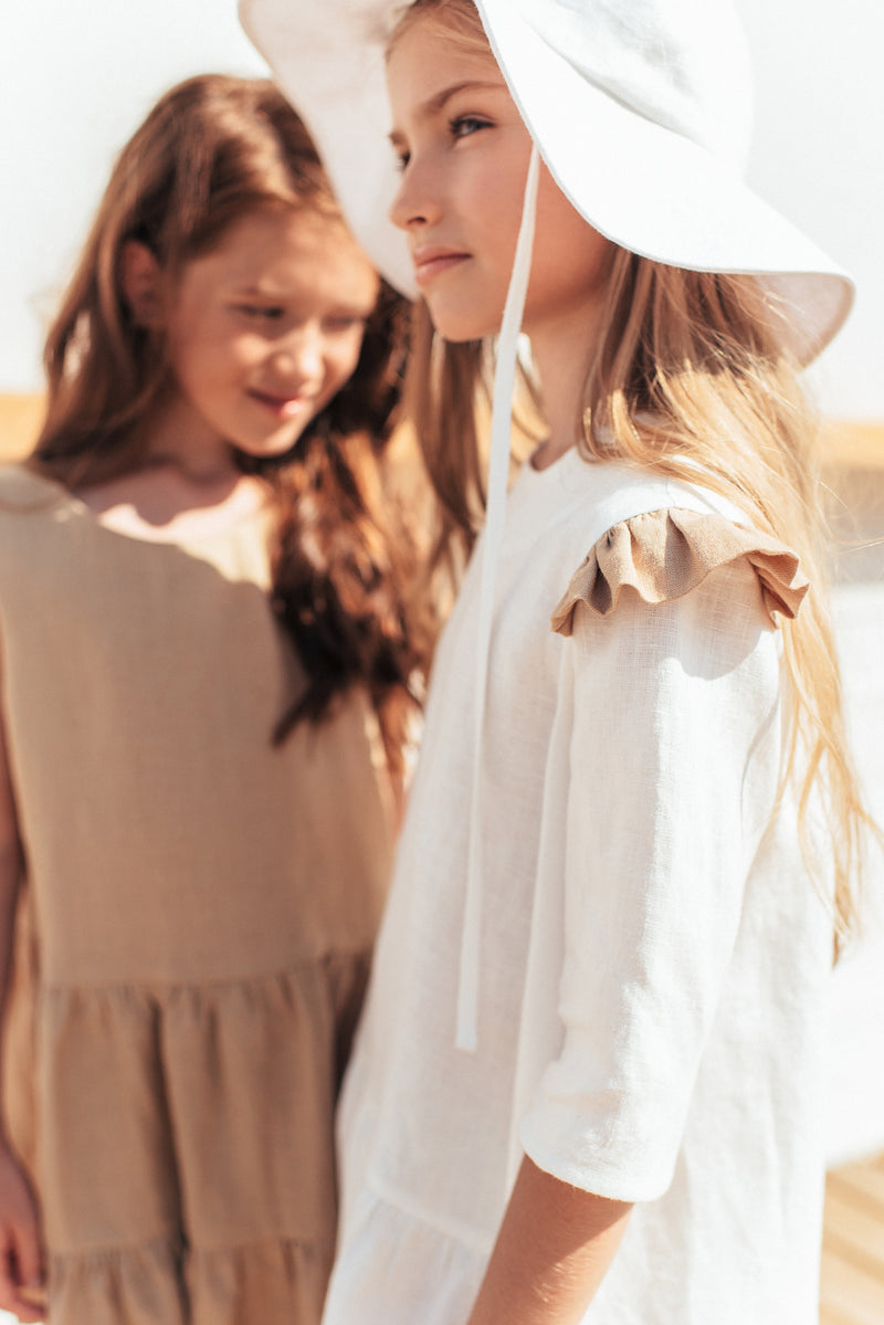 Dress White Linen with Ruffles and Frill - Il Bambino Store