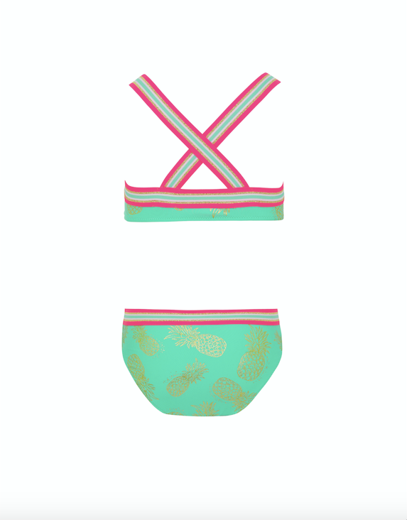 Girl Pastel Green Pineapple Glitter Trim Cross Back Bikini - Il Bambino Store