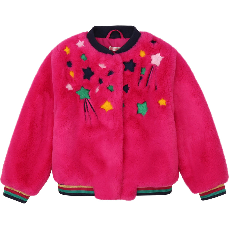 Faux Fur Jacket with Star Embroidery - Il Bambino Store